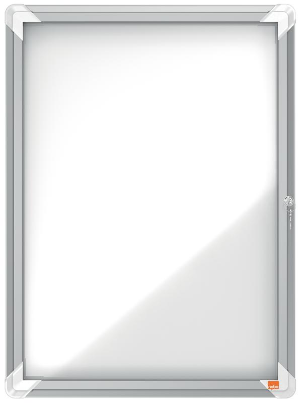 Nobo External Glazed Case Swing Door Magnetic White 4xA4
