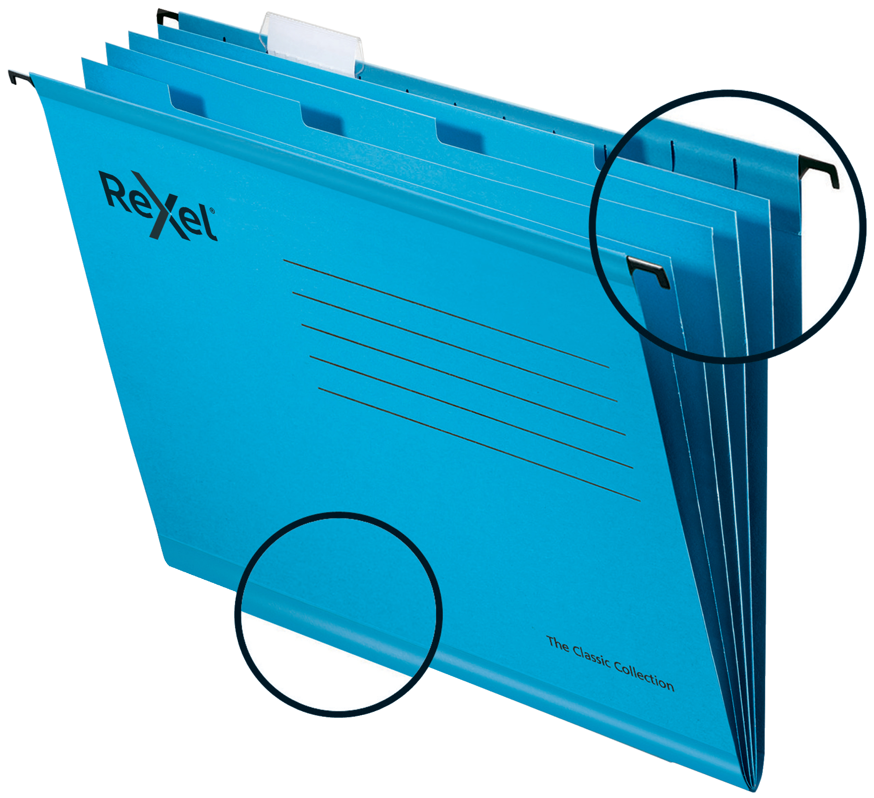 Rexel Classic Foolscap Suspension File Card 15mm V Base Blue (Pack 10) 2115594