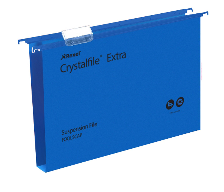 Suspension File Rexel Crystalfile Extra Foolscap Polypropylene Suspension File 30mm Blue PK25