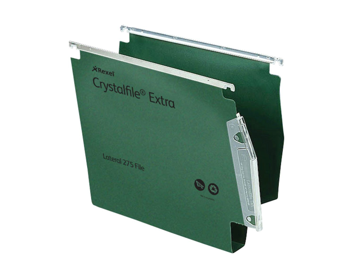 Rexel Crystalfile Extra Lateral File PP 30mm Base Green PK25