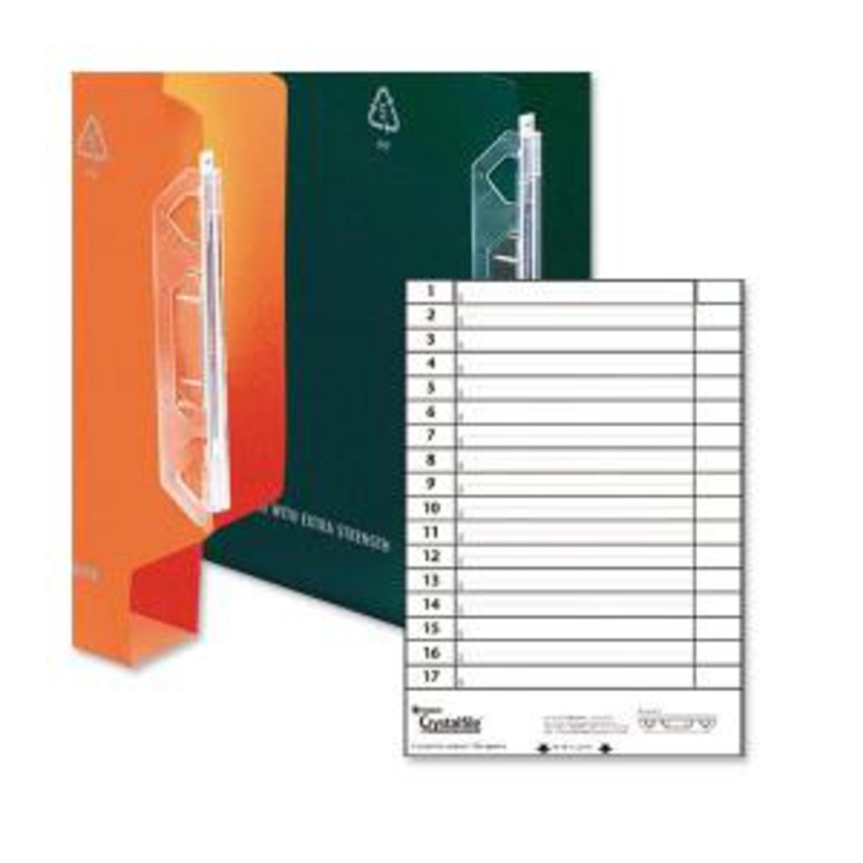 Rexel Crystalfile Lateral 330 Plastic Tabs Clr 70675 (PK25)