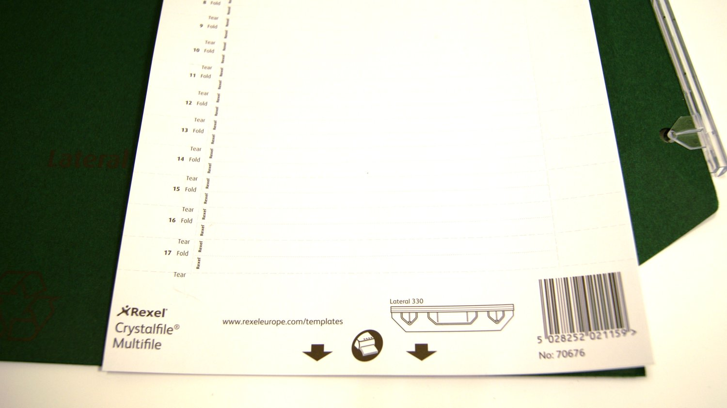 Rexel Crystalfile Lateral 330 Inserts White Pack of 25