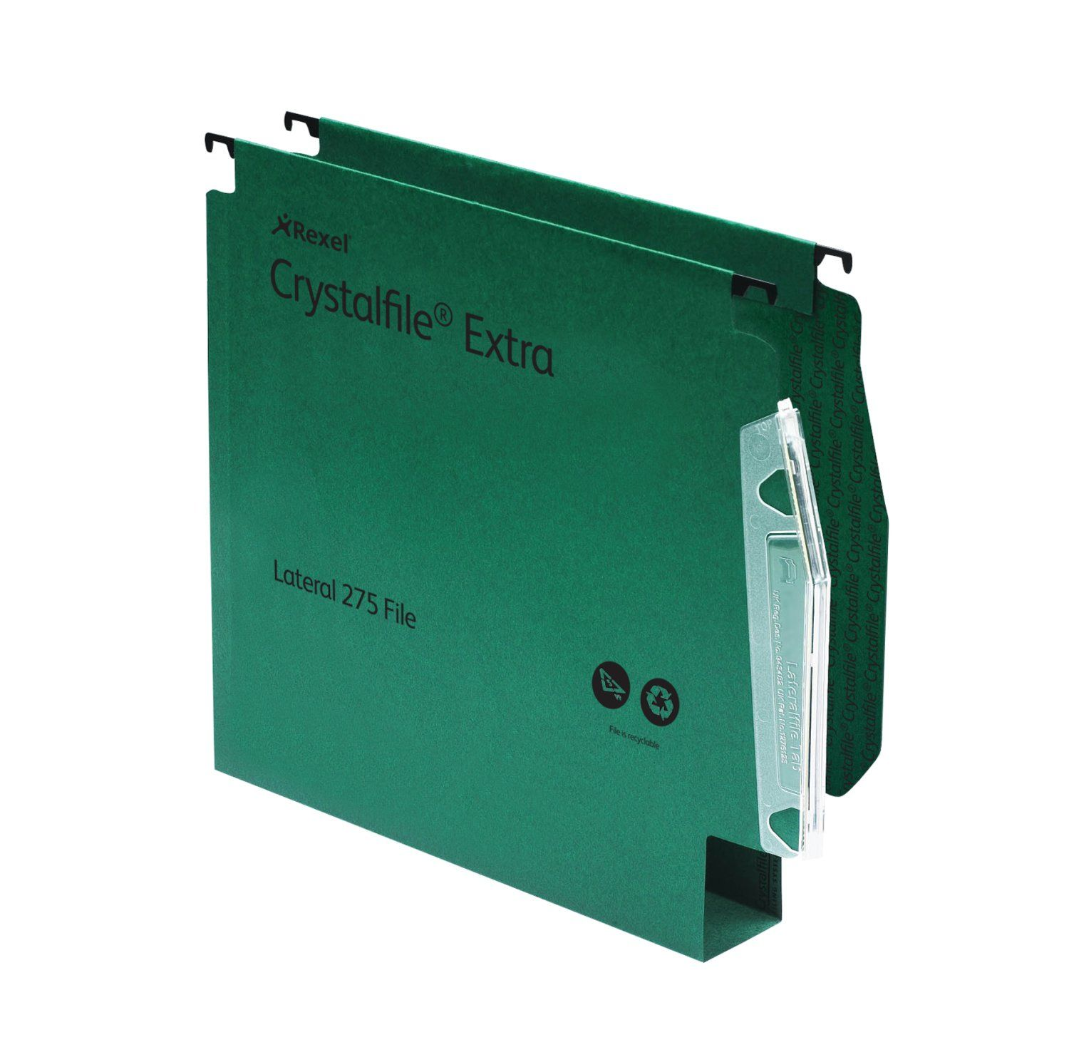 Rexel Crystalfile Extra Lateral File 275 PP 50mm Green PK25