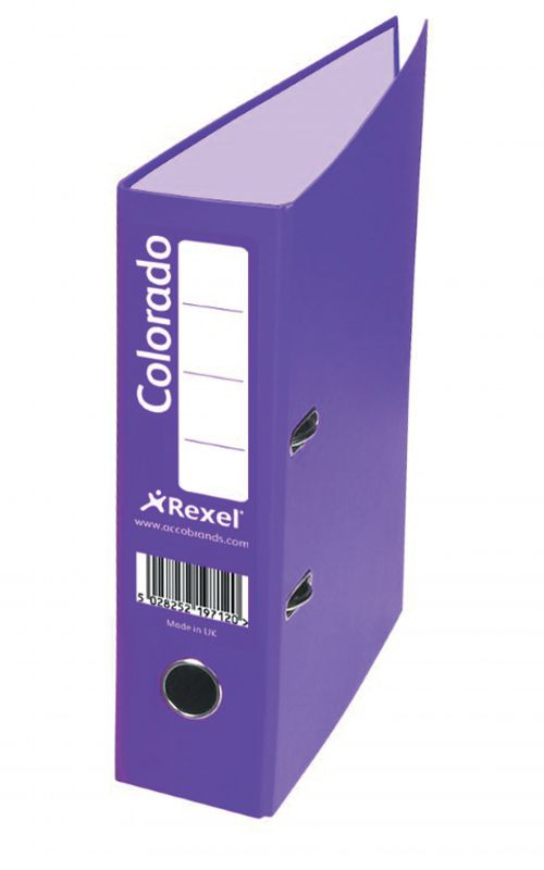 Rexel Colorado Lever Arch File A4 80mm Spine Purple PK10
