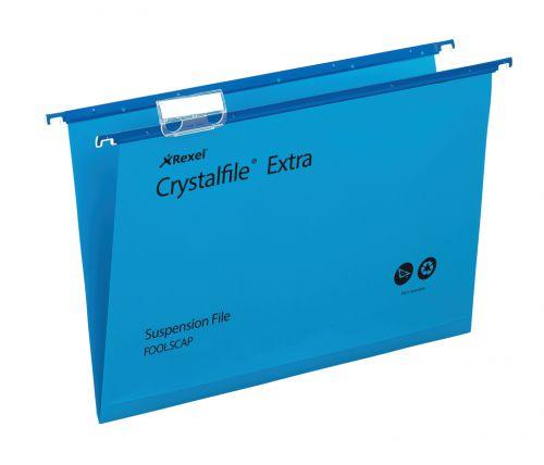 Rexel Crystalfile Extra Foolscap Susp File 5mm Blue PK25