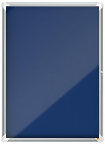 Nobo Premium Plus Felt Lockable Notice Board 9xA4 Blue