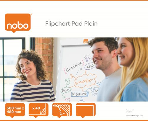 Nobo Desktop Flip-over Pad 40 Sheets B1 Plain PK5