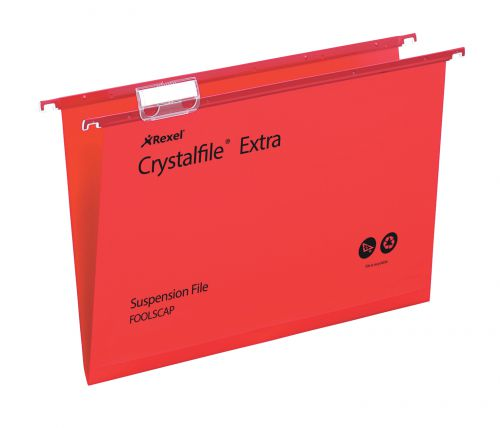 Rexel Crystalfile Extra Foolscap PP Susp File 15mm Red PK25