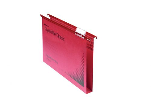 Rexel Crystalfile Classic Foolscap Suspension File Manilla 30mm Red (Pack 50)