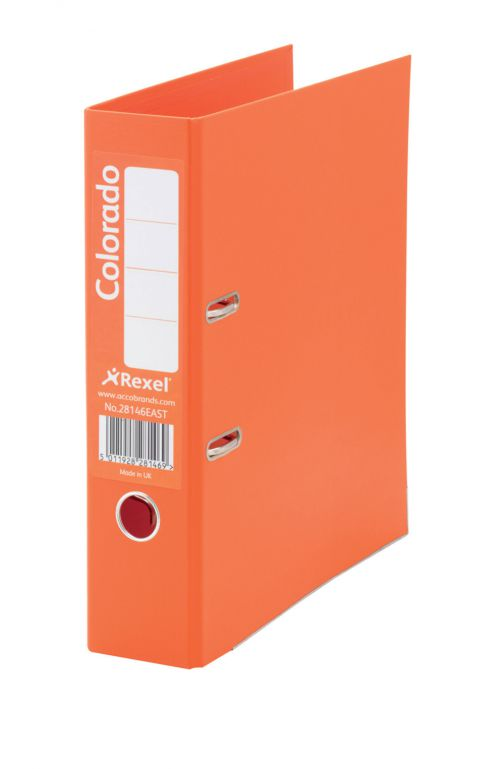 Rexel Colorado Lever Arch File 80mm Fscap Orange PK10