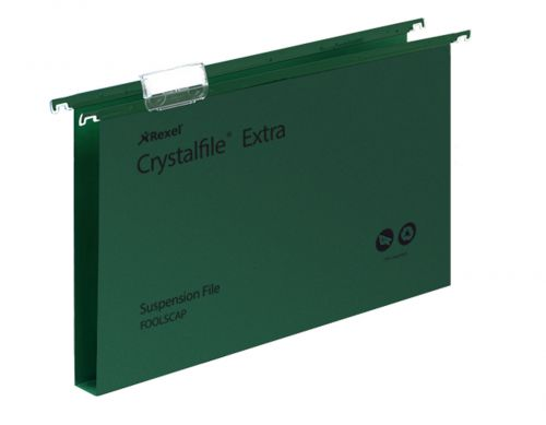 Rexel Crystalfile Xtra Foolscap PP Susp File 30mm Green PK25