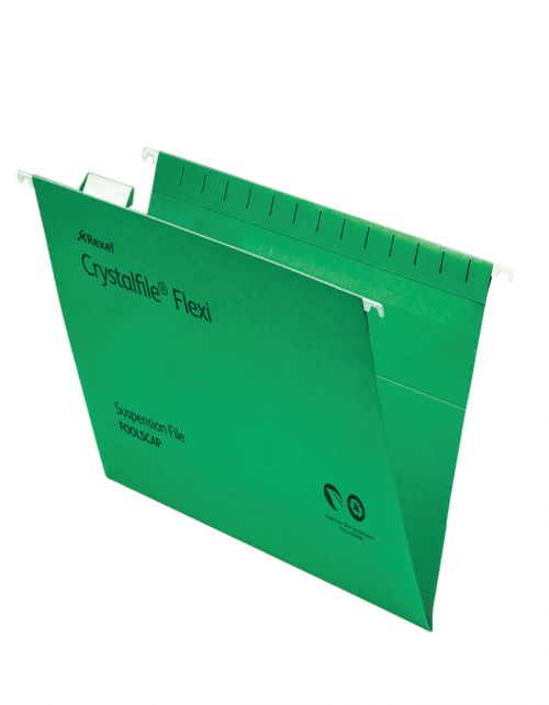 Rexel Crystalfile Flexi Foolscap Susp File V-Base Green PK50