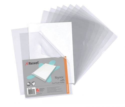 Rexel Nyrex Folder Cut Flush A4 Clear 12153 (PK25)