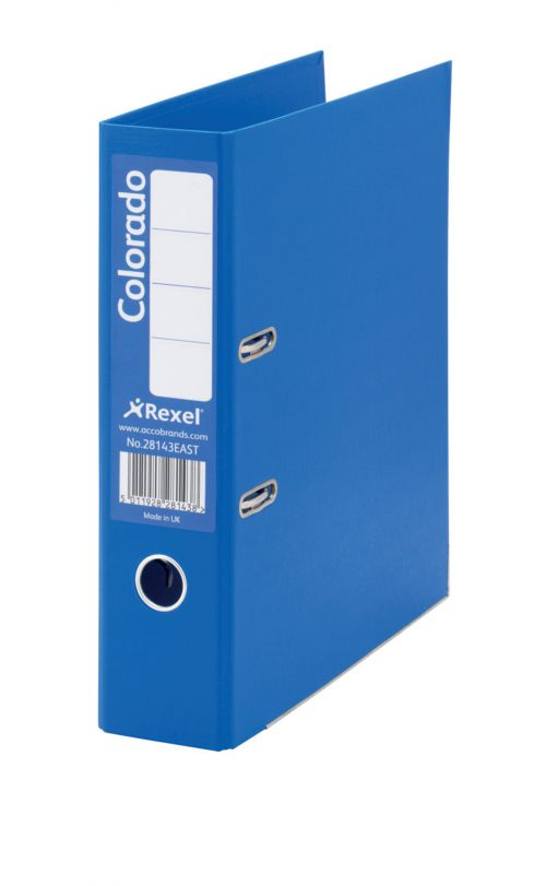 Rexel Colorado Lever Arch File Foolscap 80mm Blue PK10