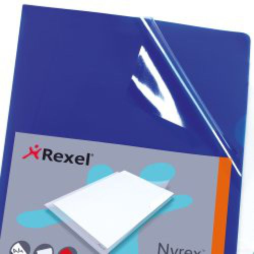 REXEL NYREX CUT BLUE A4 FLUSH FOLDER P25