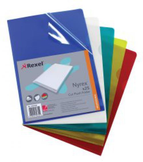 REXEL NYREX A4 RED CUT FLUSH FOLDER PK25