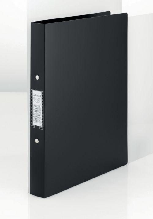 Rexel Budget Ring Binder PP 2-OR 25mm A4 Black PK10