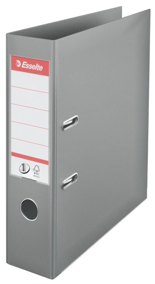 Esselte PVC Lever Arch File 70mm A4 Grey PK10