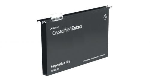 Rexel Crystalfile Extra Foolscap Susp File 50mm Black PK25