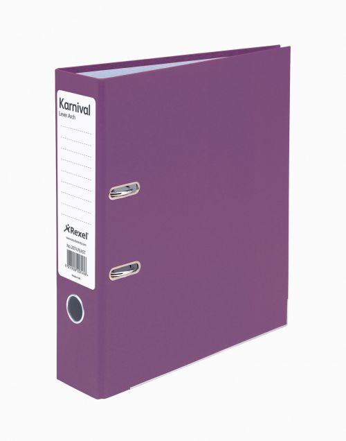 Rexel Karnival Lever Arch File Slotted A4 Purple PK10