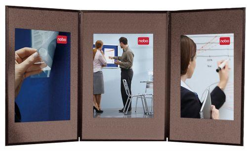 Nobo Showboard 3 Panel Desktop Display Blue and Grey