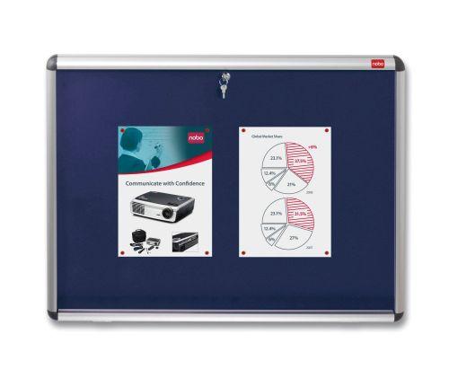 Nobo A1 Lockable Internal Felt Display Case Blue