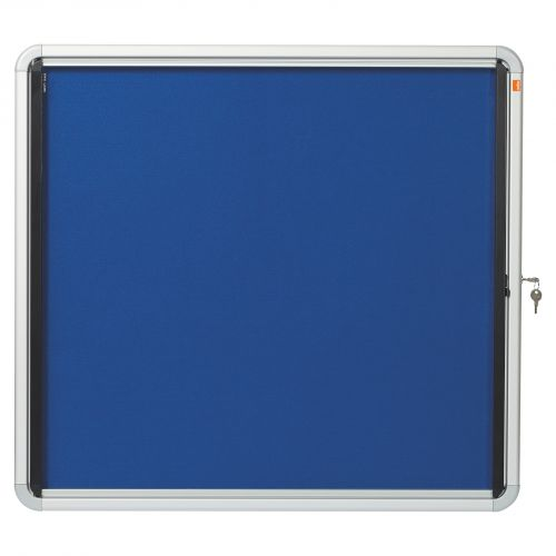 Nobo Noticeboard for Interior Glazed Case Lockable Fabric 6xA4 W692xD45xH752mm Ref 1902555
