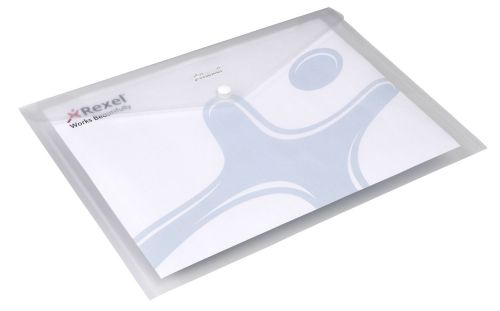 Rexel Ice Wallet Durable Polypropylene Popper-seal A4 Translucent Clear Ref 2101660 [Pack 5]