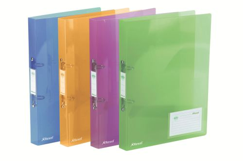 Rexel Ice 2 Ring Binder PP Std 25mm A4 Trans AssT PK10