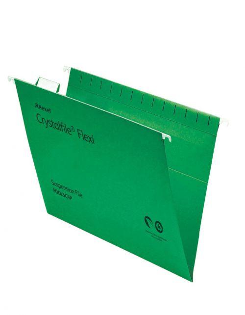 Rexel Crystalfile Flexifile Suspension File 15mm V-base 225gsm Foolscap Green Ref 3000040 [Pack 50]