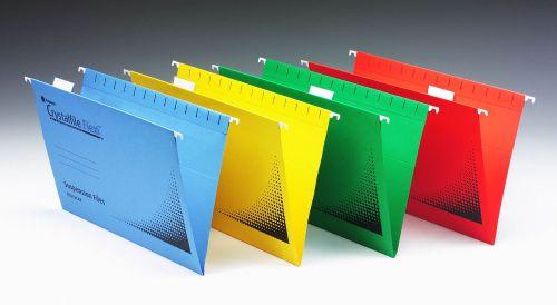 Rexel Crystalfile Flexifile Suspension File 15mm V-base 225gsm Foolscap Blue Ref 3000041 [Pack 50]