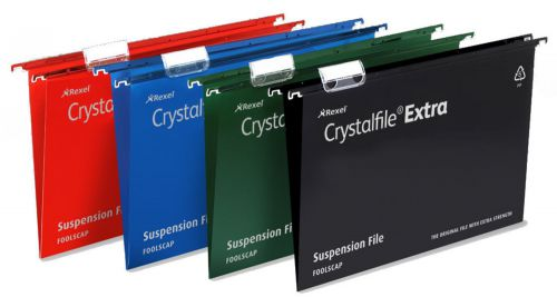 Rexel Crystalfile Extra Suspension File Polypropylene 50mm Wide-base Foolscap Green Ref3000112 [Pack 25]