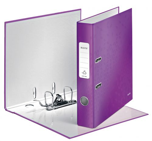 Leitz 180 WOW Lever Arch File Laminated Paper on Board A4 50mm Spine Width Purple (Pack 10) 10060062
