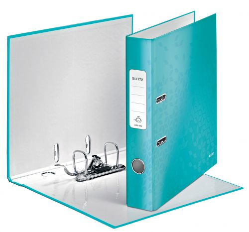 Leitz 180 WOW Lever Arch File A4 50mm Ice Blue PK10