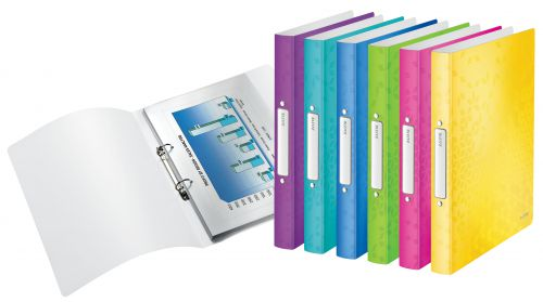 Leitz WOW Ring Binder Polypropylene 2 O-Ring A4 25mm Rings Assorted (Pack 12) 42570099