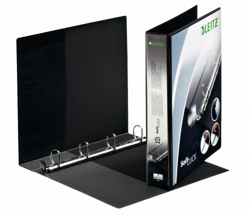 Leitz Prem SoftClick Pres Binder A4 4 D-Ring 30mm BK PK6