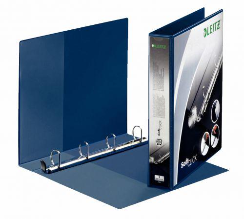 Leitz Prem SoftClick Pres Binder A4 4 D-Ring 30mm BL PK6