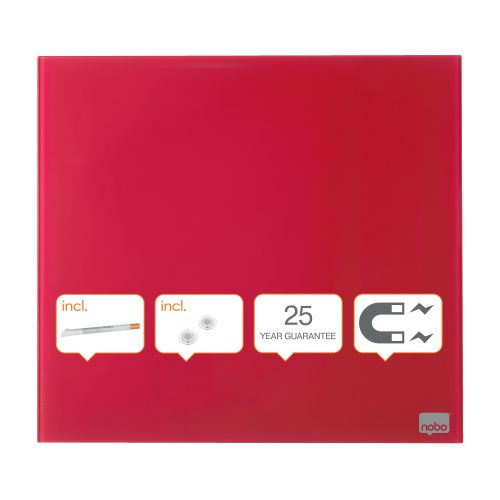 Nobo Diamond Drywipe Board Magnetic 300x300mm Red