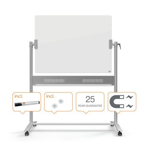 Nobo Diamond Glass Magnetic Mobile Board 1200x900mm