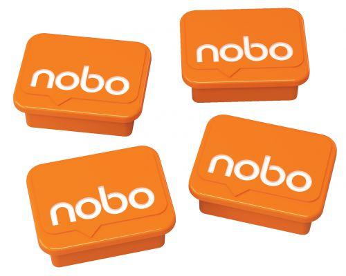 Nobo Whiteboard Magnets Orange PK4