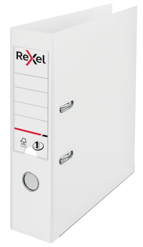Rexel Choices Lever Arch File Polypropylene A4 75mm Spine Width White (Pack 10)
