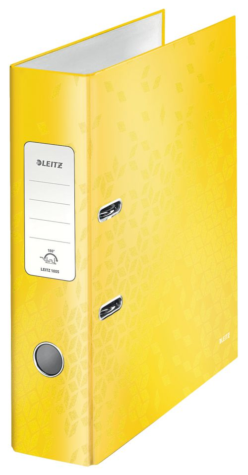 Leitz 180 WOW Lever Arch File A4 80mm Yellow PK10