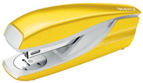 Leitz WOW Half Strip Stapler Metal 30 Sheet Yellow