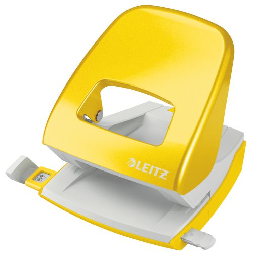 Leitz New NeXXt WOW Metal Office Hole Punch 30sh Yellow