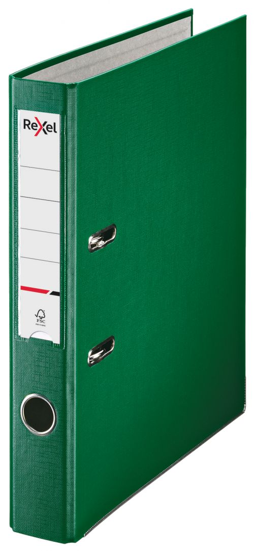 Rexel Lever Arch File ECO A4 PP 50mm Green Box 25