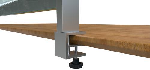 Nobo Prem Clear PVC Protective Desk Dvdr Screen Clamp x2