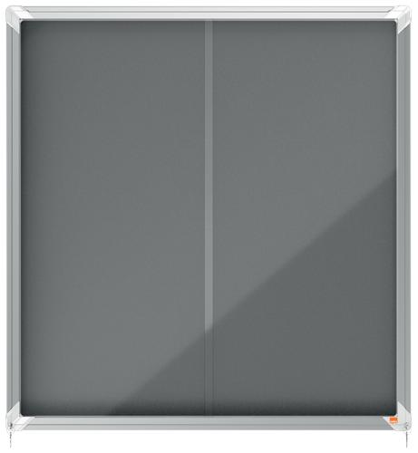 Nobo Premium Plus Grey Felt Lockable Notice Board 12xA4