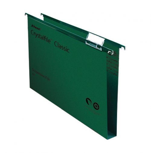 Rexel Crystalfile Classic Suspension File Manilla Wide-base 30mm 230gsm A4 Green Ref 70621 [Pack 50]