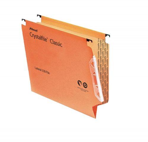 Rexel Crystalfile Classic Lat File V-Base 15mm Orange PK50