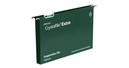 Rexel Crystalfile Extra Suspension File 30mm A4 Green (25) 71759